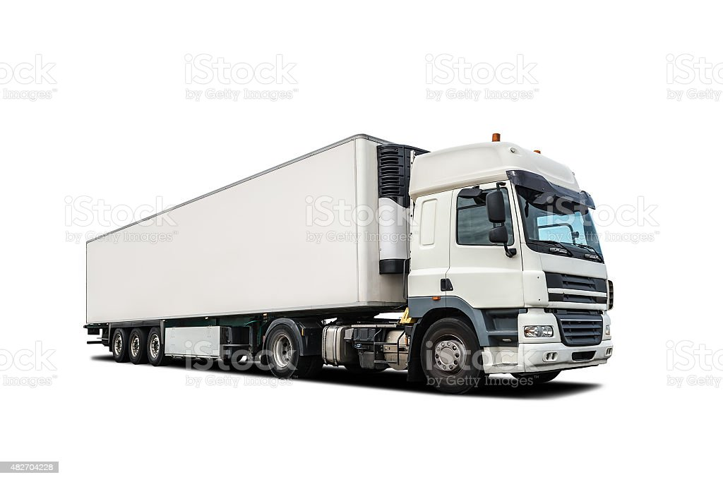 white heavy truck isolated stock photo