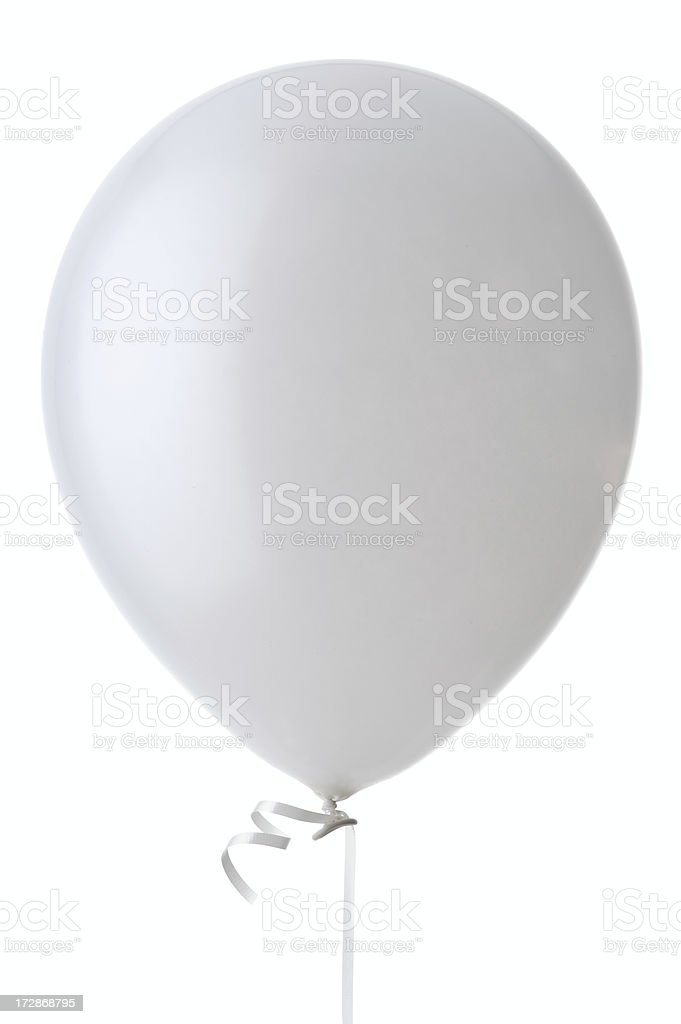 White Helium Balloon (Isolated) royalty-free stock photo