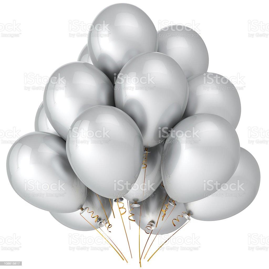 White helium balloons party decoration classic stock photo