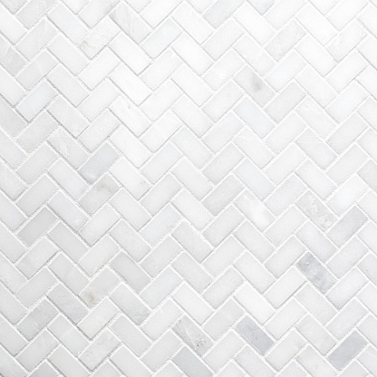 White Herringbone Marble Mosaic Wall Texture