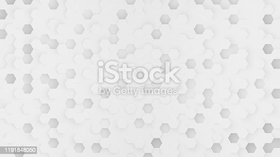 477481744istockphoto White hexagon abstract background with futuristic pattern digital technology or honeycomb style. Modern geometry Backdrop. 3D Rendering. 1191848050