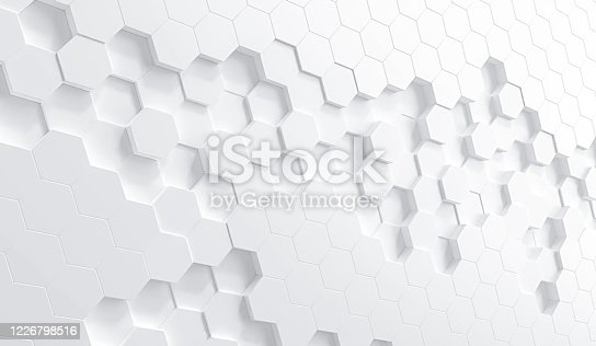 869478294 istock photo white hexagon background 1226798516