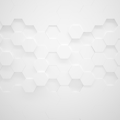 White hexagon texture with copy space (3D illustration)