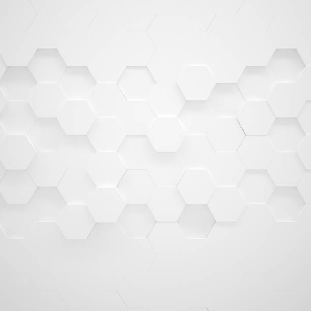 white hexagon texture (3d illustration) - geometric shape stock pictures, royalty-free photos & images