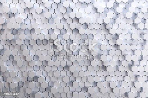 517581264 istock photo White Hexagon Tiles 623489492