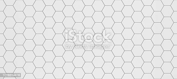 White hexagonal seamless tile texture for floor and walls