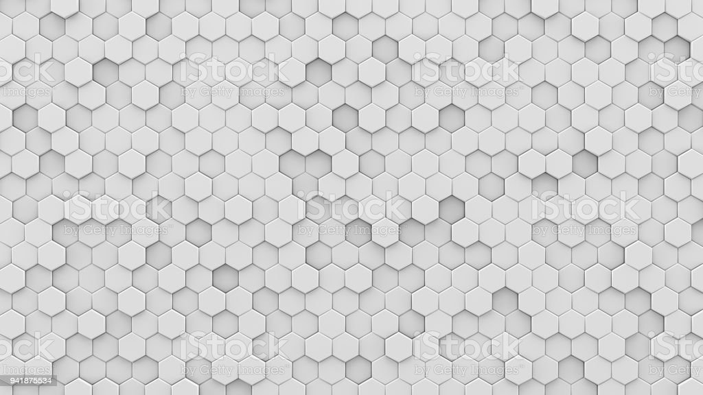 White hexagons mosaic 3D render royalty-free stock photo