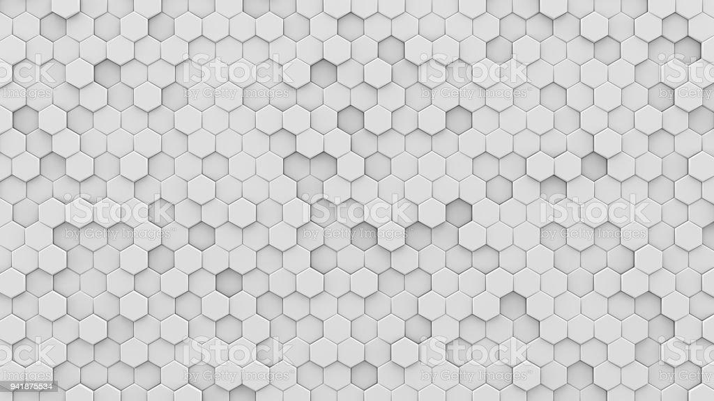 White hexagons mosaic 3D render stock photo