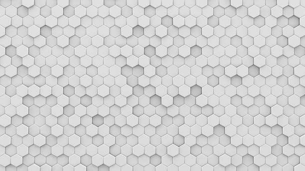 White hexagons mosaic 3D render White hexagons mosaic. Computer generated abstract geometric background. 3D render illustration hexagon stock pictures, royalty-free photos & images