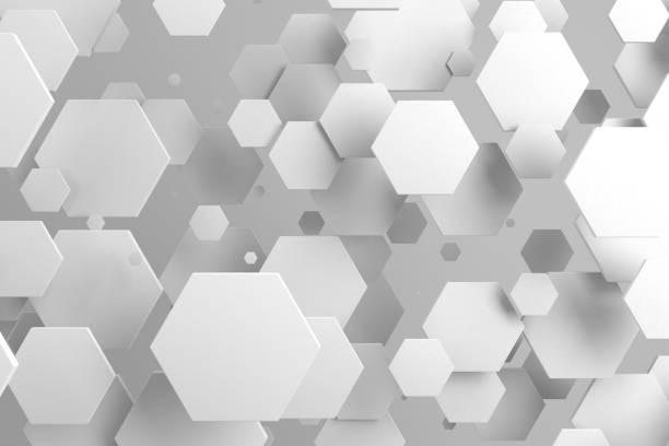 hexagones blancs de taille aléatoire sur fond blanc - forme bidimensionnelle photos et images de collection