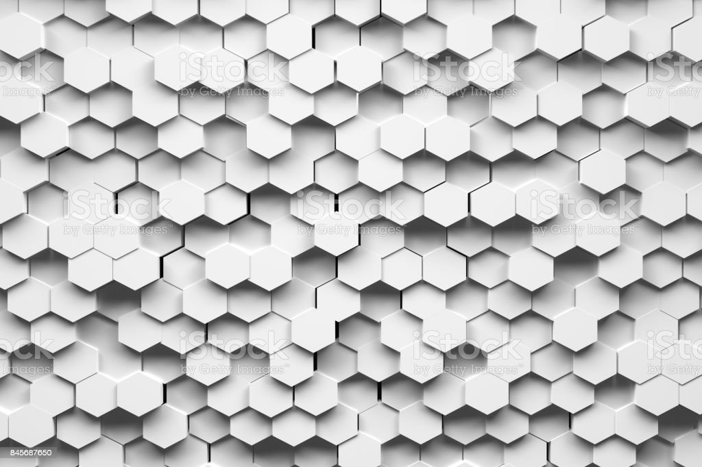 White hexagons stock photo