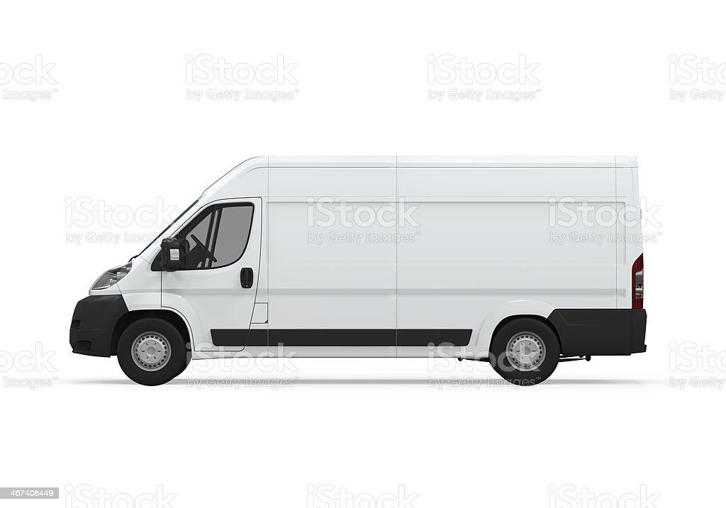 White high top delivery van side view isolated on white stock photo