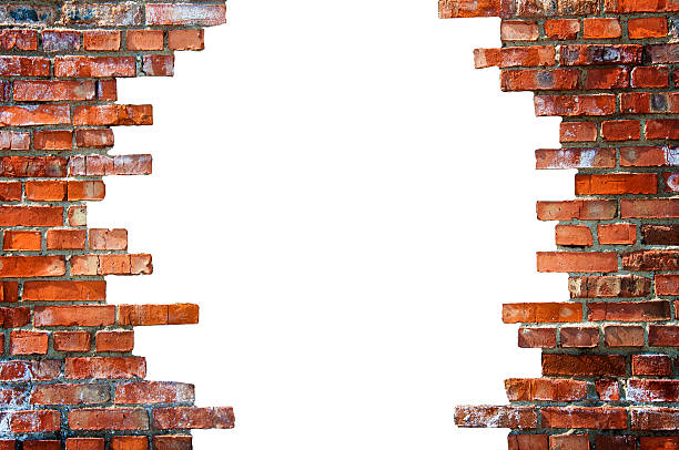 White hole in the brick wall White hole in the brick wall. Stock illustration. collapsing stock pictures, royalty-free photos & images