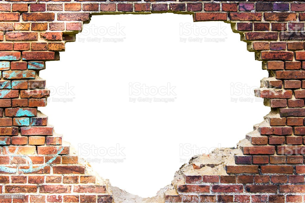 White hole in the old brick wall stock photo