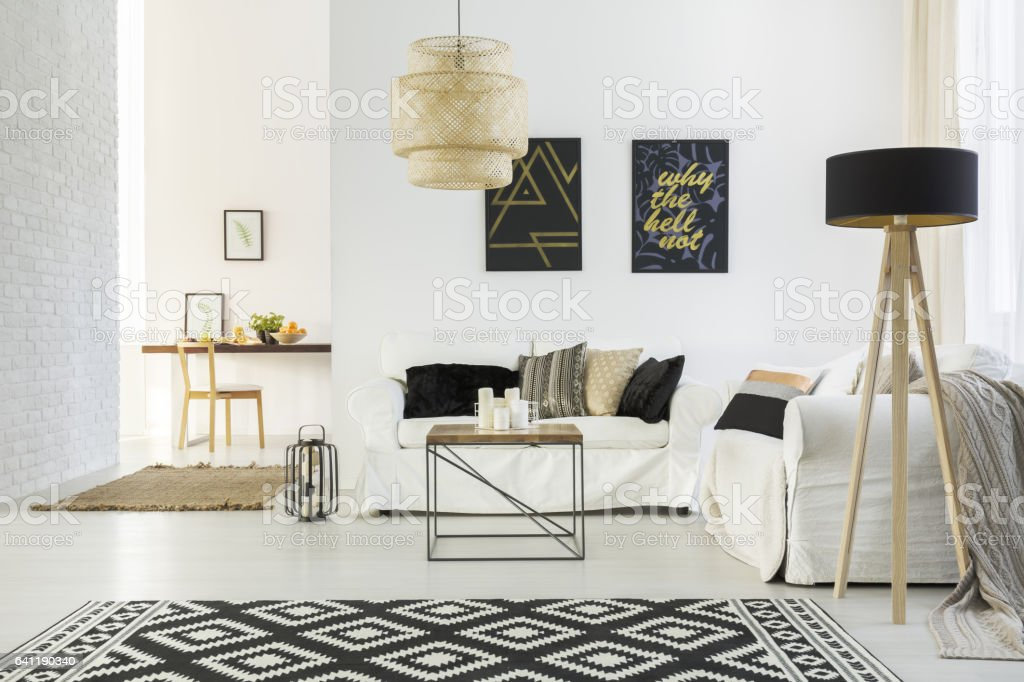 White home interior with sofa stock photo