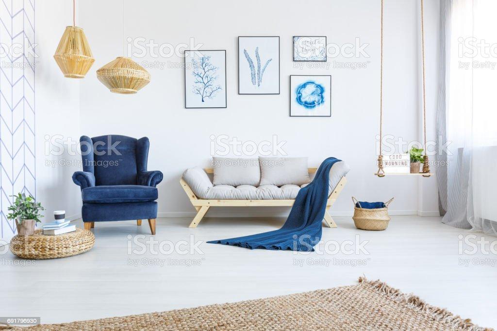 White home interior with sofa stock photo