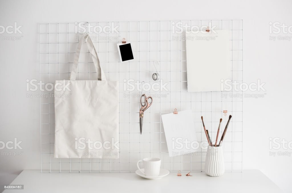 White home office room interior, bloggers workplace stock photo