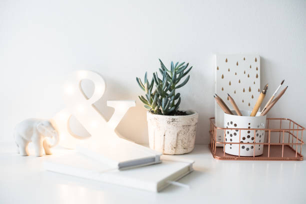 white home office table, cozy and nice workplace with notepads a - ampersand stock pictures, royalty-free photos & images