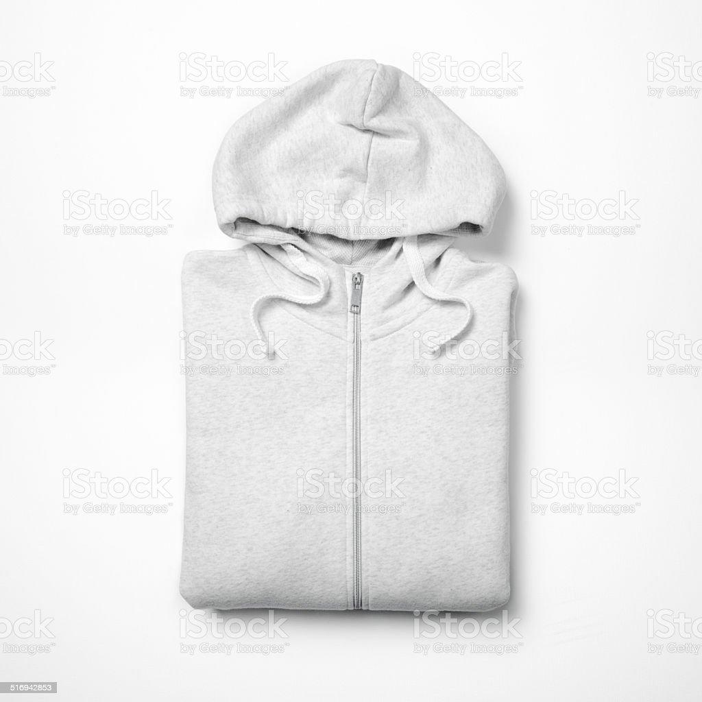 White hoodie isolated on white stock photo