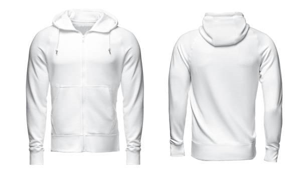 white hoodie, sweatshirt mockup, isolated on white background stock photo