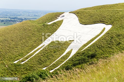 White Horse on hill in Wiltshire, England, which was carved into chalk grassland in the late 1600s, Legend suggest it was created to commemorate King Alfred's victory at the Battle of Eoandun in 878.