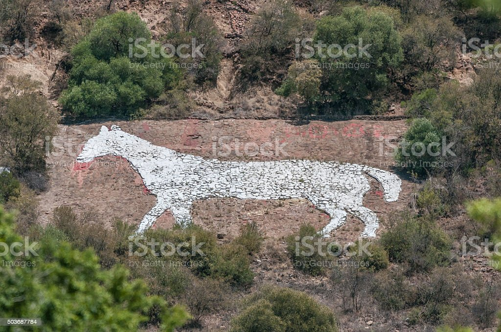 White Horse on Naval Hill in Bloemfontein stock photo