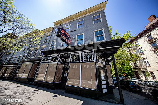 New York, New York - USA – May 7, 2020: The White Horse Tavern on Hudson Street is closed due to health concerns to stop the spread of COVID-19 outbreak on Thursday, May 7, 2020.