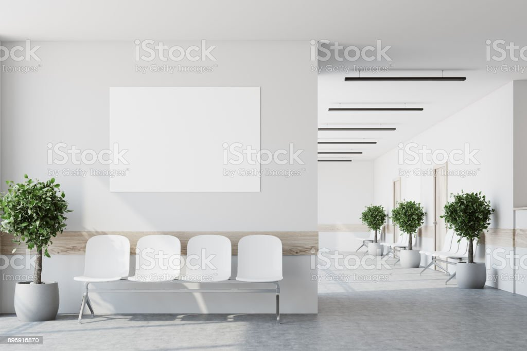 White hospital lobby, poster stock photo