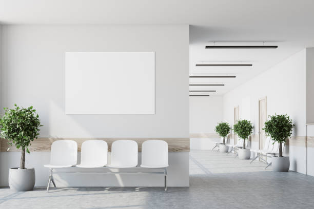 white hospital lobby, poster - corridor stock photos and pictures