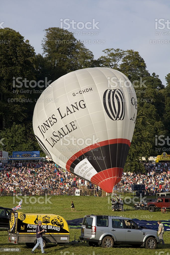 White Hot Air Balloon is inflated stock photo