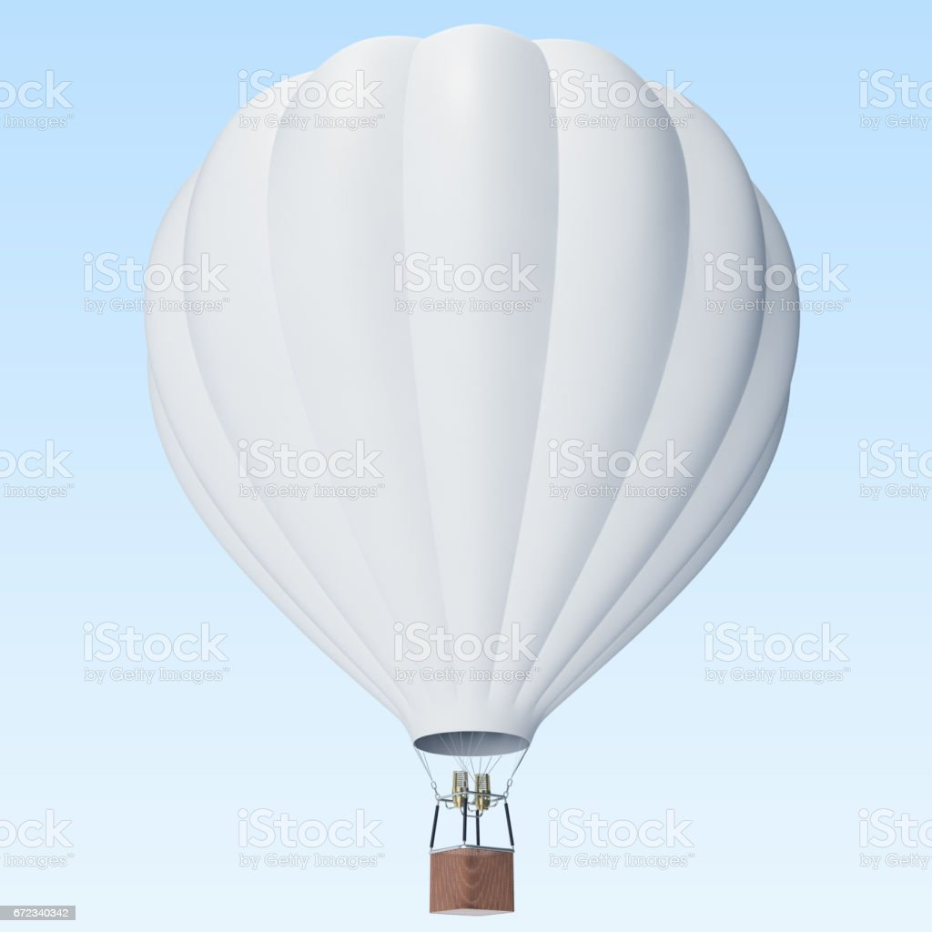 White hot air balloon on clouds background with basket. 3d rendering стоковое фото