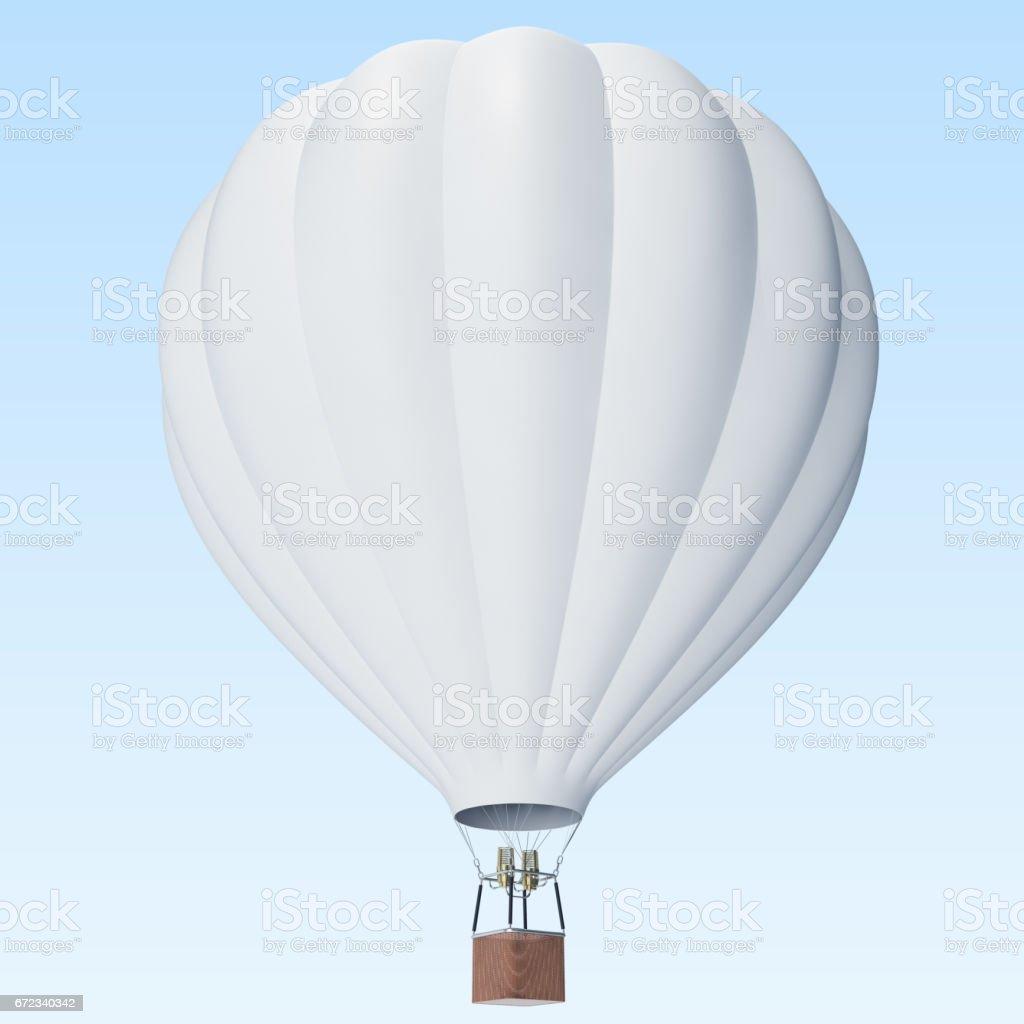 Globo blanco sobre fondo de nubes con la cesta. Render 3D - foto de stock