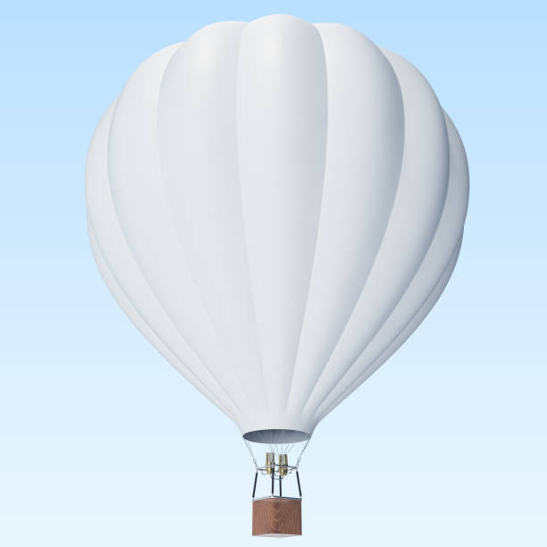 white hot air balloon on clouds background with basket. 3d rendering - hot air balloon стоковые фото и изображения