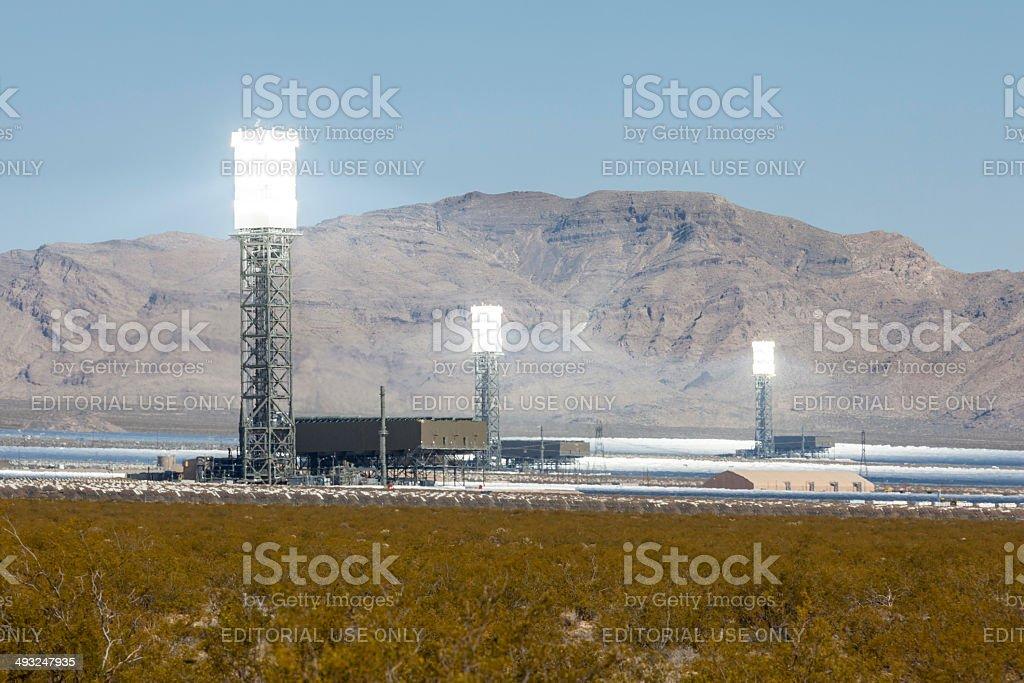 White Hot Mojave Desert Solar Power Towers stock photo