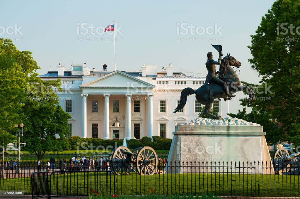 White House and Andrew Jackson Equestrian Statue stock photo