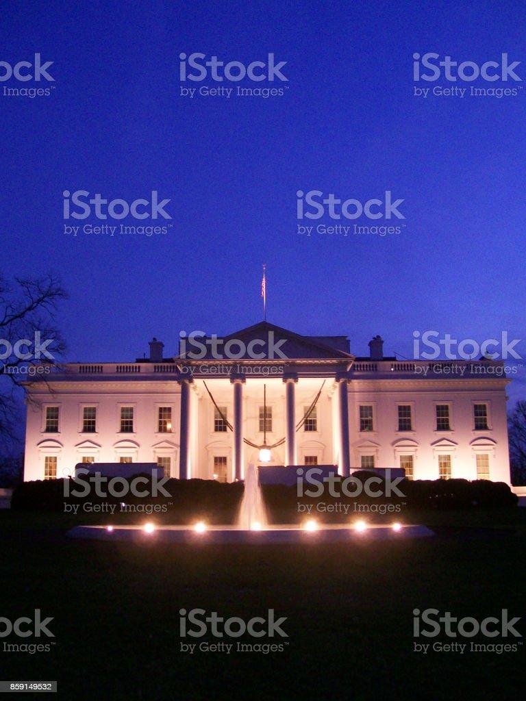 White House at night in Washington DC stock photo