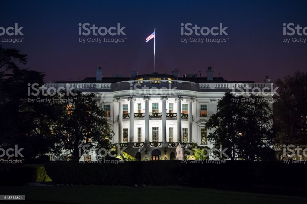 White House at Night stock photo