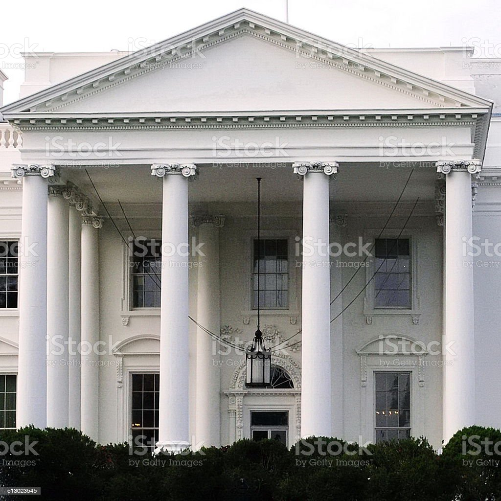 White House Close-up Front Entrance Portico stock photo