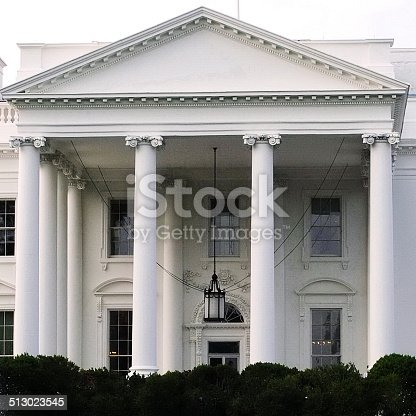 White House Closeup Front Entrance Portico Stock Photo ...