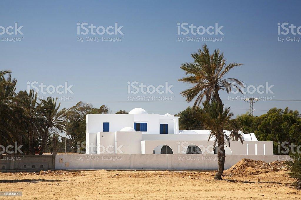 White house in arabic style on Djerba royalty-free stock photo