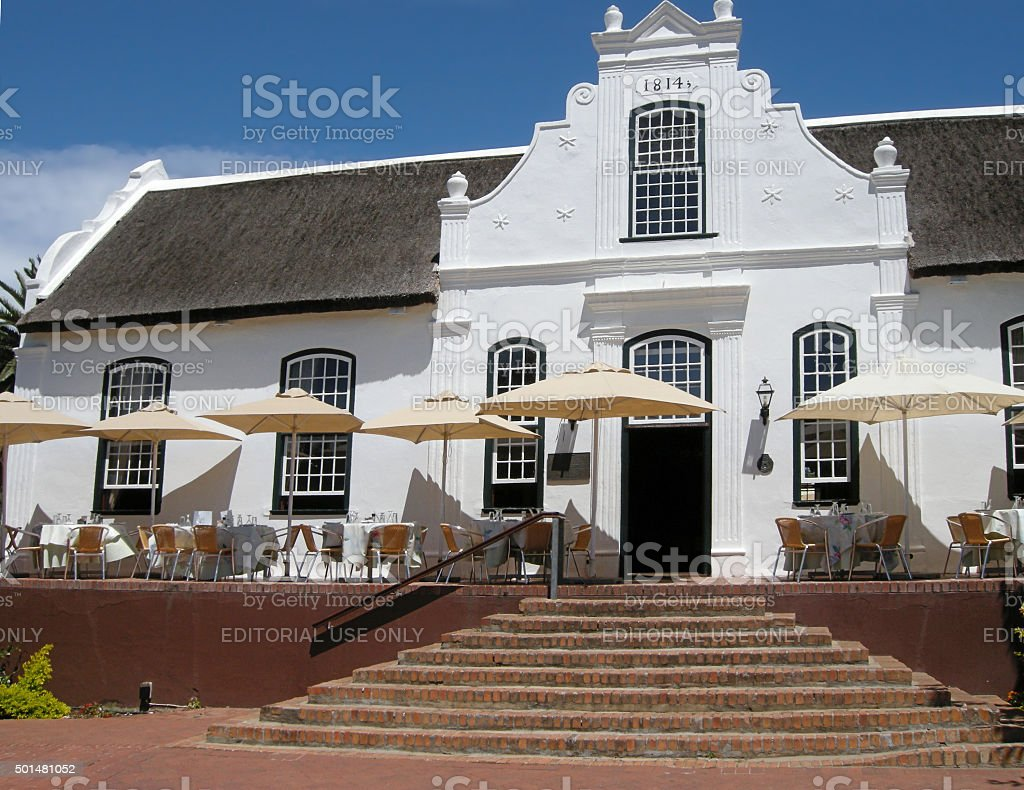 White house in colonial style on wine farm, South Africa stock photo