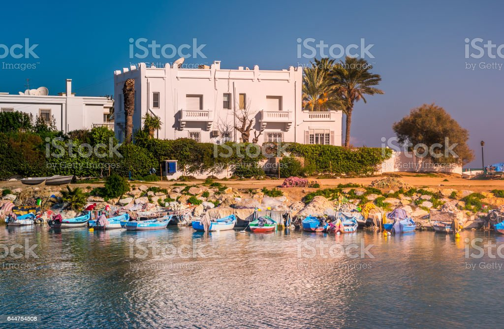White house in Tunisia stock photo