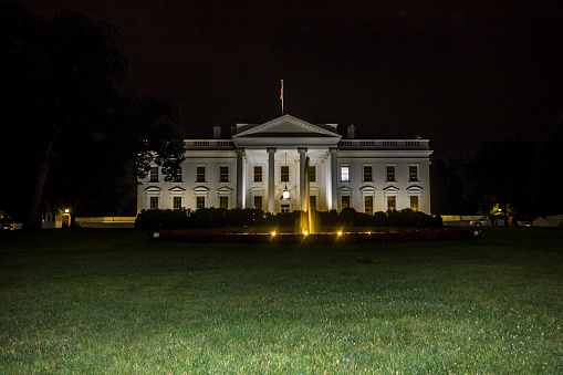 White House In Washington At Night Stock Photo - Download Image Now