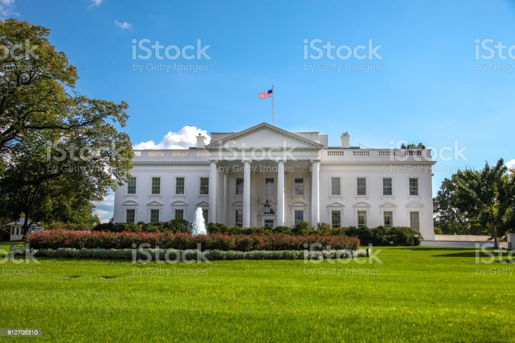 White House North Facade Lawn Washington, DC in 4k/UHD stock photo