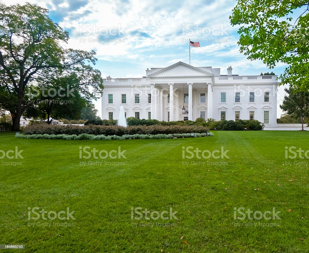 White House North Facade Under Magnificent Sky stock photo