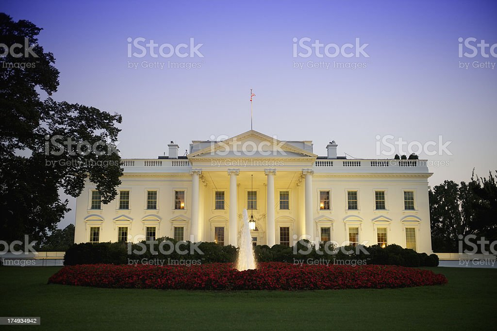White House North Lawn Fountain Washington DC Evening stock photo
