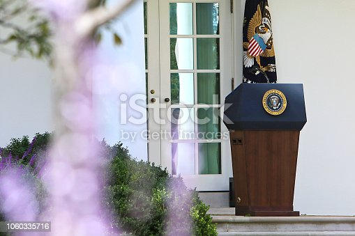 White House Podium close up with flowers