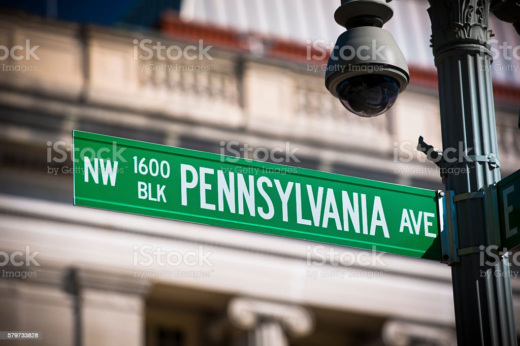 White House road sign stock photo