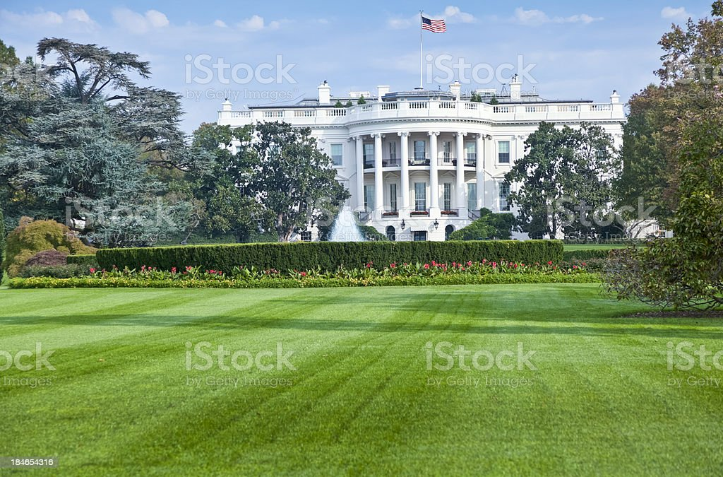 White House South Facade with Beautifully Manicured Lawn stock photo