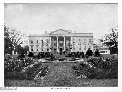 Antique American Photograph: The White House, Washington, D.C., United States, 1900: Original edition from my own archives. Copyright has expired on this artwork. Digitally restored. Historic photos show the White House in 1900 and was featured as part of the Washington D.C. Centennial Celebration.